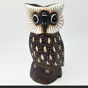 Wooden Spotted Owl Figurine